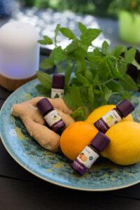 Ätherische Öle Zitrone, Ingwer, Minze